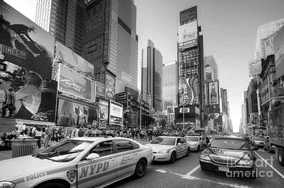 Photograph - Times Square Traffic 2.1 Bw by Yhun Suarez