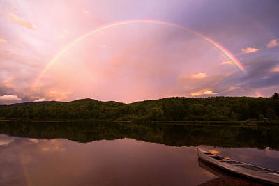 Timing Is Divine Rainbow Over Vermont Mountains Art Print by Stephanie McDowell