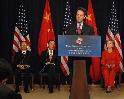 Timothy Geithner Speaking Print by Everett