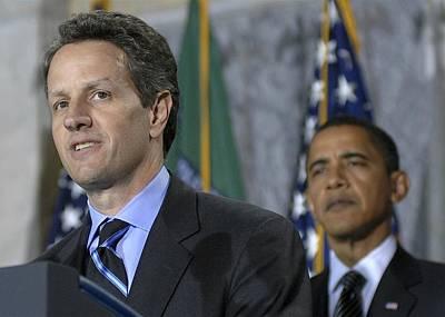 Timothy Geithner Speaks Art Print