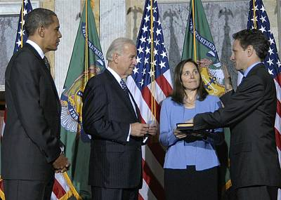 Biden Photograph - Timothy Geithner Sworn-in As Secretary by Everett