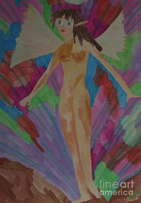 Tinkerbell Painting - Tinkerbell Nude In City by Voda Tenerife