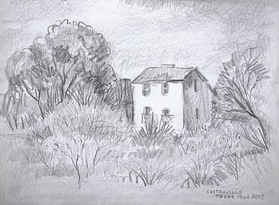 Cabin Window Drawing - Tiny Country House by Bill Joseph  Markowski