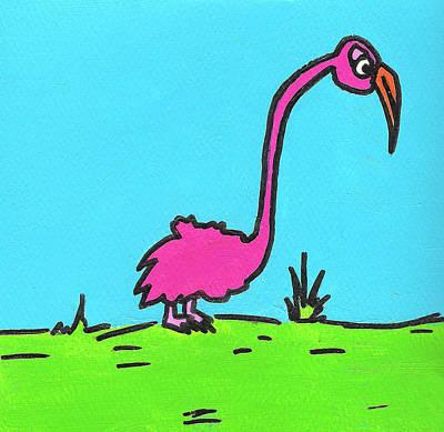 Painting - Tiny Legged Flamingo by Jera Sky