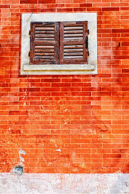 Photograph - Tiny Window On Orange Wall by Silvia Ganora