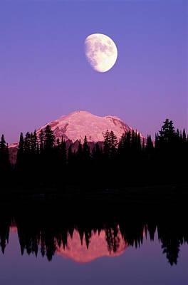 Tipsoo Lake And Full Moon At Mount Ranier National Park In Washington Art Print