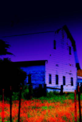Digital Art - Tired Old Barn by Kathy Sampson