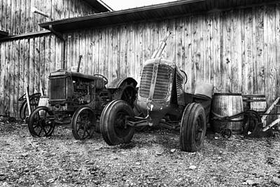 Wooden Barrel Photograph - Tired Tractors Bw by Peter Chilelli