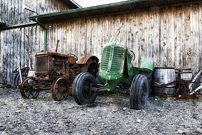 Wooden Barrel Photograph - Tired Tractors by Peter Chilelli