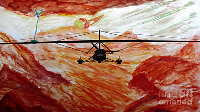 Painting - Titan Flight On Moon Of Saturn by Stanley Morganstein