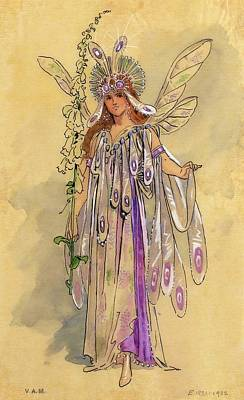Clothing Drawing - Titania Queen Of The Fairies A Midsummer Night's Dream by C Wilhelm