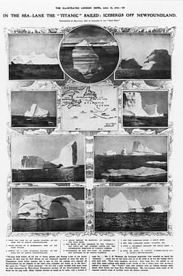 Photograph - Titanic: Icebergs, 1912 by Granger