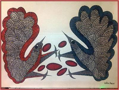 Gondwana Painting - Mkt 20 Tithi Birds by Manoj Tekam