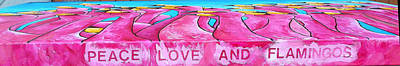 Painting - Title On Original Painting Of Peace Love And Flamingos by Patti Schermerhorn