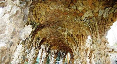 Photograph - Titled Stone Columns II Gaudi Guell Park Barcelona Spain by John Shiron