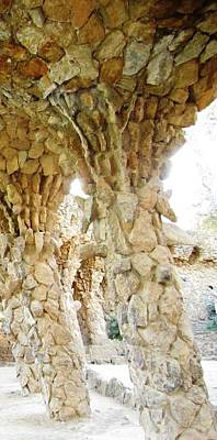 Photograph - Titled Stone Columns IIi Gaudi Guell Park Barcelona Spain by John Shiron
