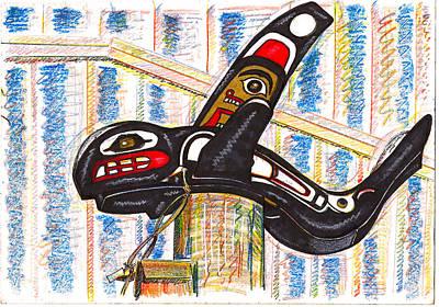 Inuit Drawing - Tlinget Killer Whale  Sitka  Alaska by Al Goldfarb