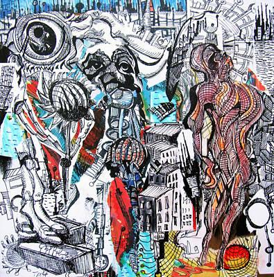 Cityscape Drawing - Tmi  by Jon Baldwin  Art