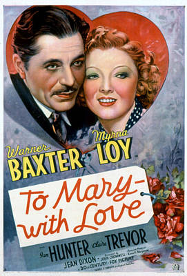 To Mary-with Love, Warner Baxter, Myrna Print by Everett