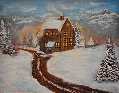Painting - Toasty Cabin by Leslie Allen