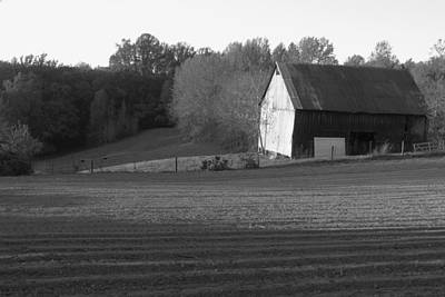 Photograph - Tobacco Barn In Black And White by JD Grimes