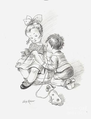 Drawing - Toddlers 3 by Alex Rahav
