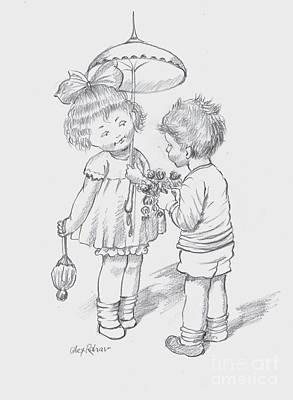 Drawing - Toddlers 4 by Alex Rahav