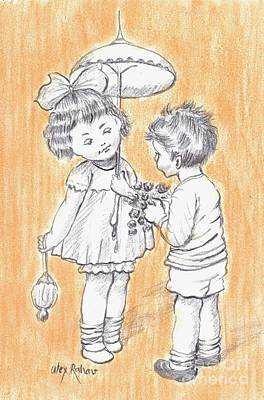 Drawing - Toddlers 5 by Alex Rahav