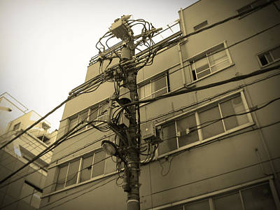 Japan City Photograph - Tokyo Electric Pole by Naxart Studio