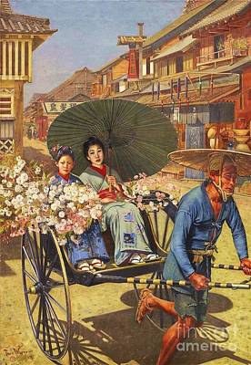 Painting - Tokyo Street Scene by Pg Reproductions