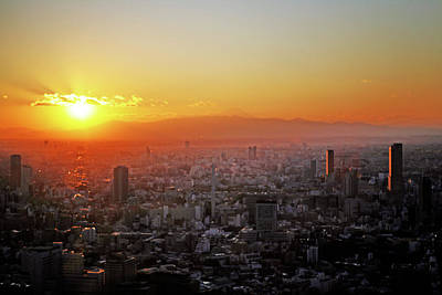 Mt. Fuji Photograph - Tokyo Sunset by Hilary McHone
