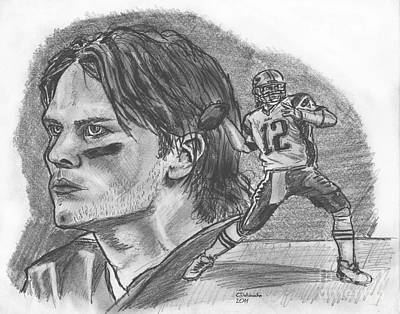 Drawing - Tom Brady Dk by Chris  DelVecchio