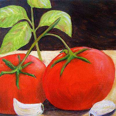 Italian Kitchen Painting - Tomato Basil And Garlic by Pauline Ross