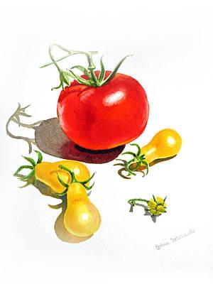 Red Tomatoes Painting - Tomato Dance by Irina Sztukowski
