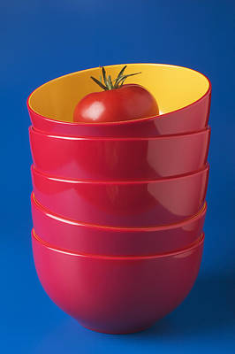 Tomato In Stacked Bowls Art Print
