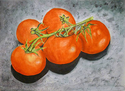 Tomatoes Art Print by Linda Pope
