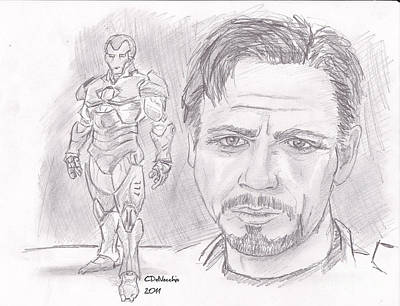 Drawing - Tony Stark- Ironman by Chris  DelVecchio