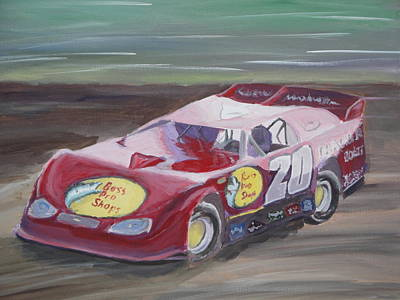 Tony Stewart Painting - Tony Stewart In A Dirt Late Model by James Lopez