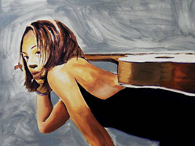 Wall Art - Painting - Tonya With Guitar On Back by Clayton Singleton