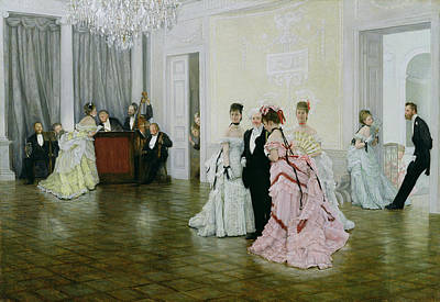 Ballroom Painting - Too Early by James Jacques Joseph Tissot