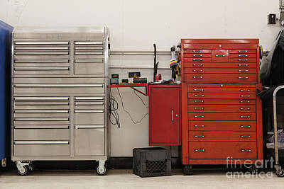 Tool Chests In An Automobile Repair Shop Art Print by Don Mason