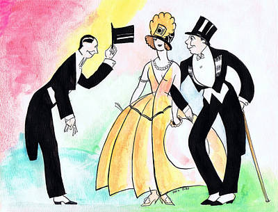 Top Hat Trio Art Print by Mel Thompson