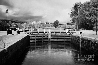 Caledonian Canal Photograph - Top Lock Gates Of Neptunes Staircase Series Of Locks On The Caledonian Canal Near Fort William Highl by Joe Fox