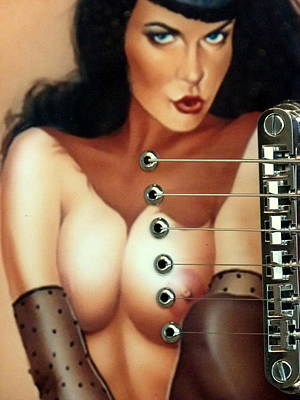 Photograph - Topless Girl And Guitar by Jeff Lowe