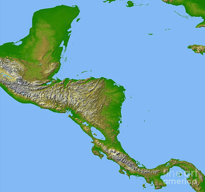 Topographic View Of Central America Art Print by Stocktrek Images