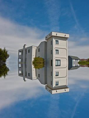 Coastal Town Digital Art - Topsail Island Tower Reflection by Betsy Knapp