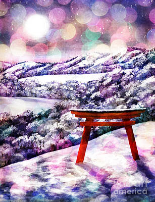 Digital Art - Torii In Rainbow Snowfall by Laura Iverson