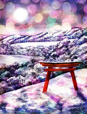 Digital Art - Torii In Rainbow Snowfall by Laura Iverson