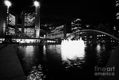 Toronto City Hall Building And Reflecting Pool In Nathan Phillips Square At Night Art Print by Joe Fox