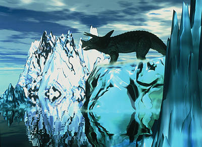 Mass Effect Photograph - Torosaurus Dinosaur In An Icy Landscape by Victor Habbick Visions